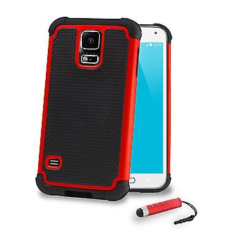 Shock Proof Case + stylus for Samsung Galaxy S5 (SM-G900) - Red