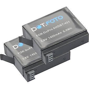 2 x de batterij van de vervanging van de GoPro AHDBT-401 van Dot.Foto - 3.8v / 1400mAh - GoPro Hero 4