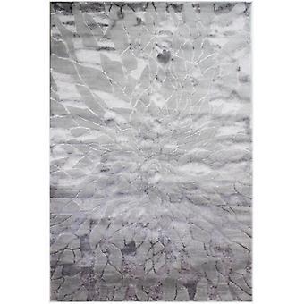 Grau glatt geometrische Wollteppich - Alpaka