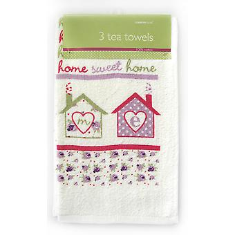 Country Club Velour Tea Towels, Home Sweet Home, Set of 3