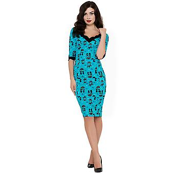 Voodoo Vixen - COOL KAT - Women's Wiggle Style Dress, Blue