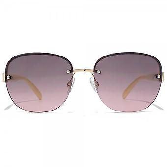 Carvela Diamante Temple Rimless Sunglasses In Shiny Light Gold