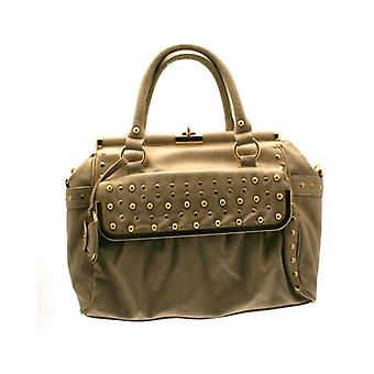 W.A.T Stone Faux Leather Frame Style Stud Tote Handbag