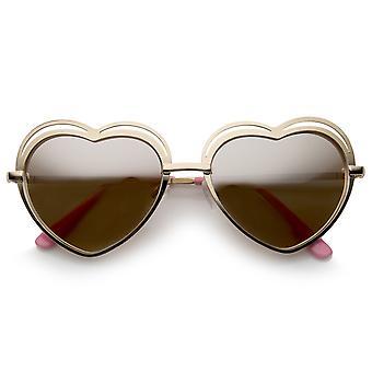 Corte Metal marco fino recorte del templo corazón de gafas de sol de las mujeres 55mm
