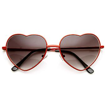 Womens Fashion Thin Metal Cute Heart Shaped Sunglasses