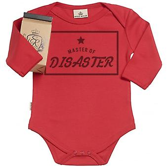 Spoilt Rotten Master Of Disaster Organic Baby Grow In Gift Milk Carton