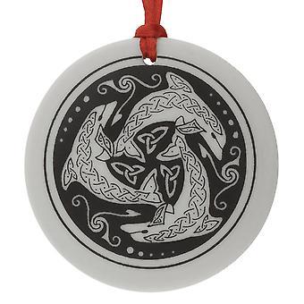 Handmade Celtic Nehalennia Round Shaped Porcelain Christmas Ornament / Keepsake