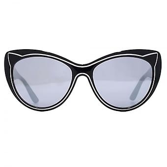Karl Lagerfeld Cat Engraved Cateye Sunglasses In Black Snow
