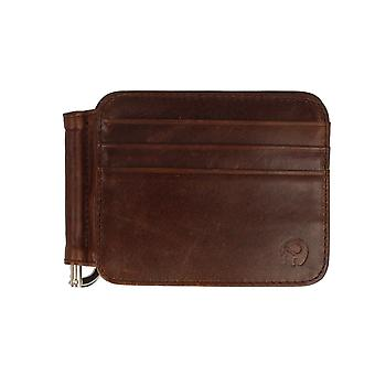 Frederic Thomass leather card case wallet with money clip Brown mens
