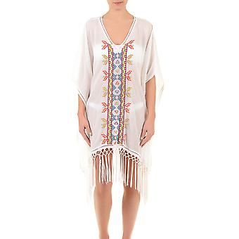 Iconique IC7-024 Women's White Aztec Embroidered Beach Dress Poncho Kaftan