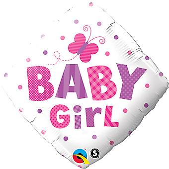 Qualatex 18 Inch Baby Boy/Girl Dragonfly/Butterfly Diamond Shaped Foil Balloon