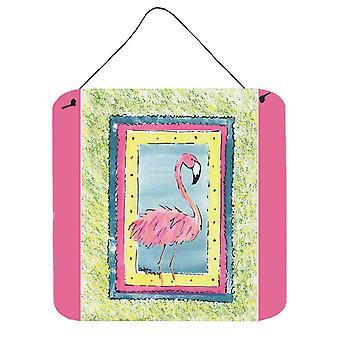 Aves - Metal de aluminio Flamingo pared o la puerta colgando impresiones 8106