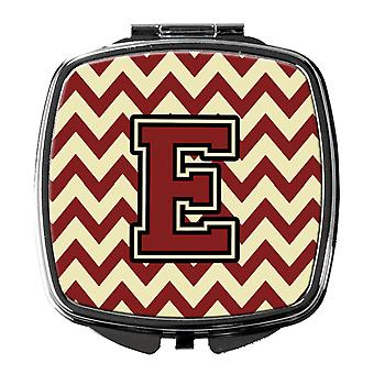 Carolines Treasures  CJ1061-ESCM Letter E Chevron Maroon and Gold Compact Mirror