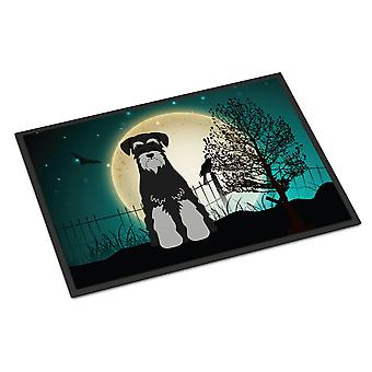 Halloween Scary Standard Schnauzer Black Grey Indoor or Outdoor Mat 24x36