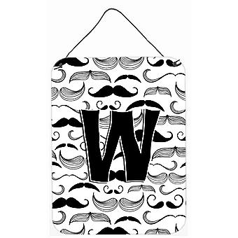 Letter W Moustache Initial Wall or Door Hanging Prints