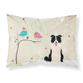 Christmas Presents between Friends Border Collie Black White Fabric Standard Pil