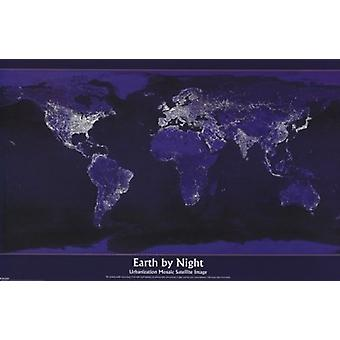 Earth By Night Map Poster Poster Print