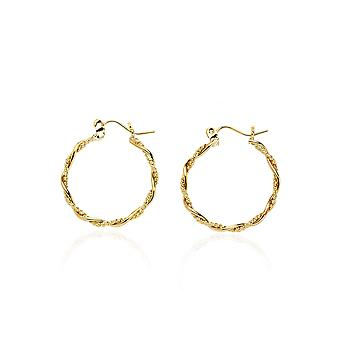 14k Yellow Gold Fancy Twisted Round Hoop Earring in Gift Box