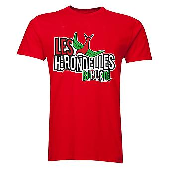 بوروندي Les Hirondelles تي شيرت (أحمر)