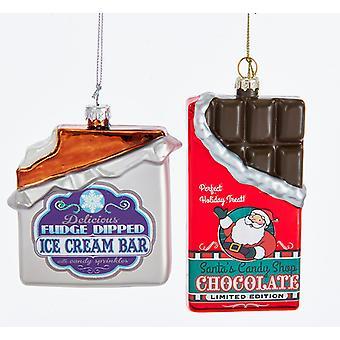 Mørk chokolade slik og is fløde Bar Christmas Holiday smykker sæt med 2