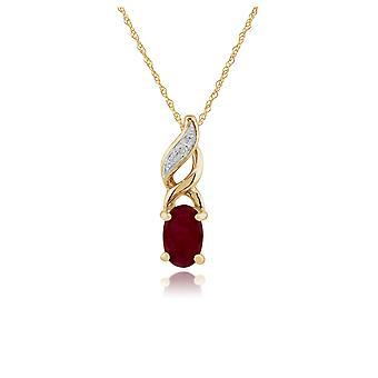 Gemondo 9ct Yellow Gold 0.32ct Ruby & Diamond Pendant on Chain