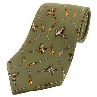 David Van Hagen Flying Pheasant and Shotgun Country Silk Tie - Country Green