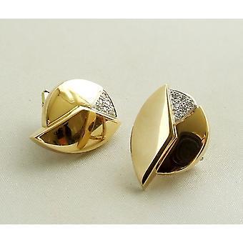 18 k oro pendientes con diamantes