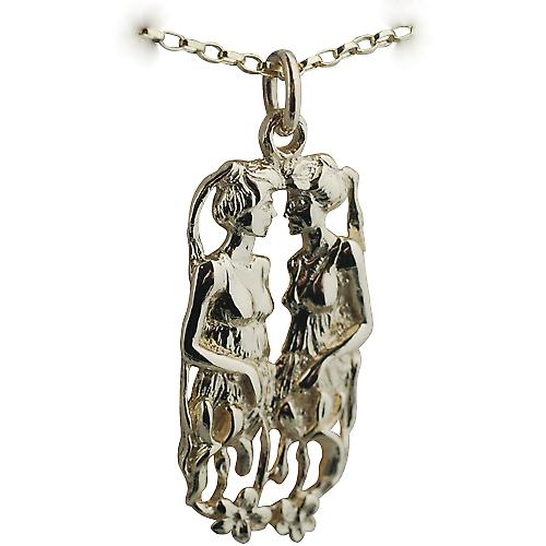 9ct Gold 33x17mm Gemini Zodiac Pendant with a Belcher chain