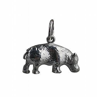Silver 9x17mm flodhäst berlock eller Charm