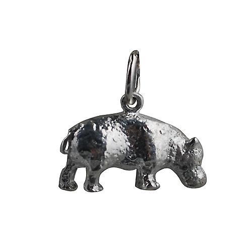 Silver 9x17mm Hippopotamus Pendant or Charm