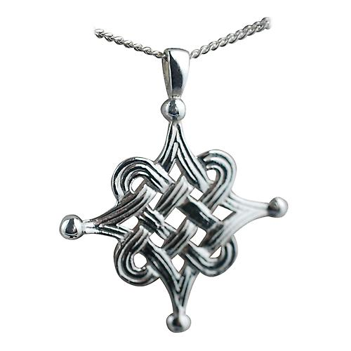 Silver 32mm Islamic design Pendant with Curb chain