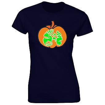 Halloween pompoen kostuum Fancy Dress Glow In The Dark Halloween Womens T-Shirt 8 kleuren (8-20) door swagwear