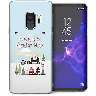 Samsung Галактика S9 Рождественская деревня гель ТПУ – синий