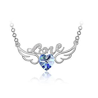 Womens Blue and Silver Love Pendant Necklace With Angel Wings