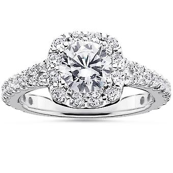 1 1/2ct Cushion Halo Diamond Engagement Ring 14K White Gold Round Brilliant Cut