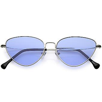 Women's Slim Metal Cat Eye Sunglasses Color Tinted Flat Lens 54mm