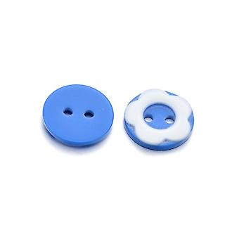 Packet 10 x Blue/White Resin 13mm Round 2-Holed Sew On Buttons HA14375