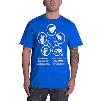 The Big Bang Theory T Shirt Rock Paper Scissors Lizard Spock Official Mens Blue