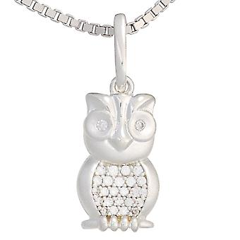 Children trailer OWL 925 sterling silver rhodium-plated partially frosted with cubic zirconia children's jewellery