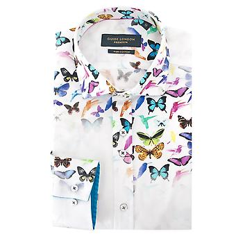 Guide London White Cotton Sateen Floating Butterfly Print Mens Shirt