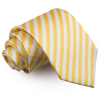 Klasyczny krawat biały & żółty pasek cienki