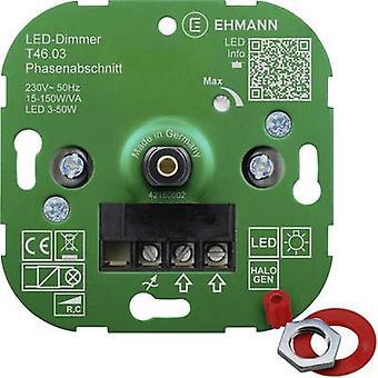 Ehmann 4600x0300 Flush-mount dimmer Suitable for light bulbs: Energy saving bulb, LED bulb, Halogen lamp, Light bulb