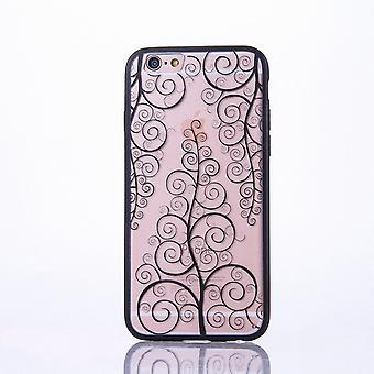 Mandala mobile caso per Apple iPhone 6 / 6s design Custodia cover motivo fiore copertura caso paraurti nero