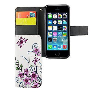 Handyhülle Tasche für Handy Apple iPhone 5 / 5s / SE Lotusblume