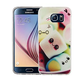 Mobile case for Samsung Galaxy S6 cover case protective bag motif slim TPU + armor protection glass 9 H lettering marshmallows