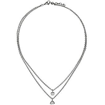 Necklace chain with pendant 2-row stainless steel 10 cubic zirconia 45 cm necklace