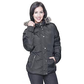 Spindle Ladies Womens Spindle Designer Faux Fur Hooded Short Jacket Quilted Puffer Padded Coat Zip Pockets