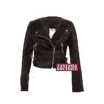 Black Ladies Veste motard postal Argent PVC en cuir Manteau de femmes manches longues