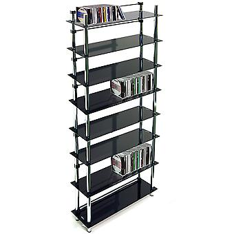 Maxwell - 8 Tier 344 Dvd / Blu-ray / 520 Cd / Media Storage Shelves - Black / Silver