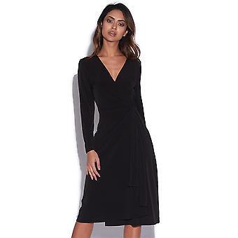 Flattering Long Sleeve V Neck Wrap Dress